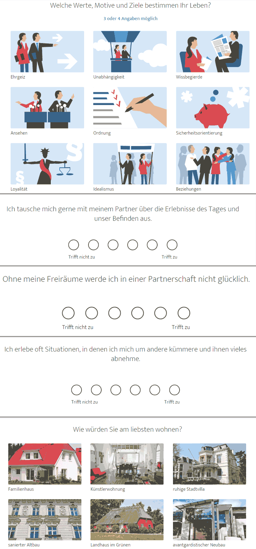 Fragen aus dem Fragebogen von Elitepartner
