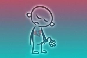 Trauriger Mensch mit gebrochenem Herzen