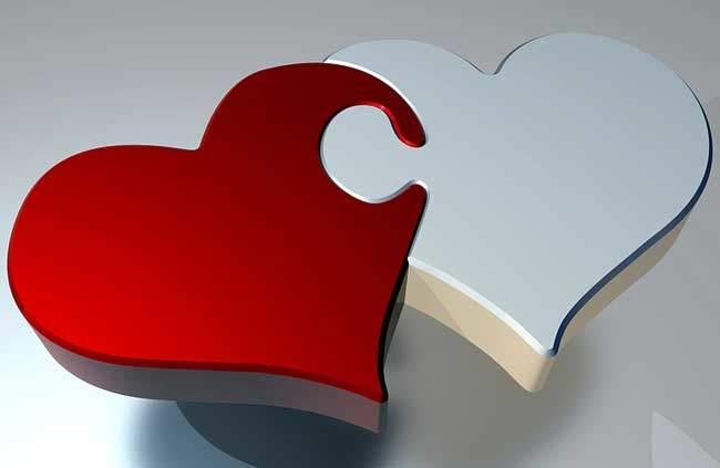 Zwei verbundene Herzen